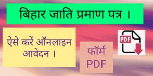 [PDF] बिहार जाति प्रमाण पत्र आवेदन , Jati Praman Patra Form (2021)