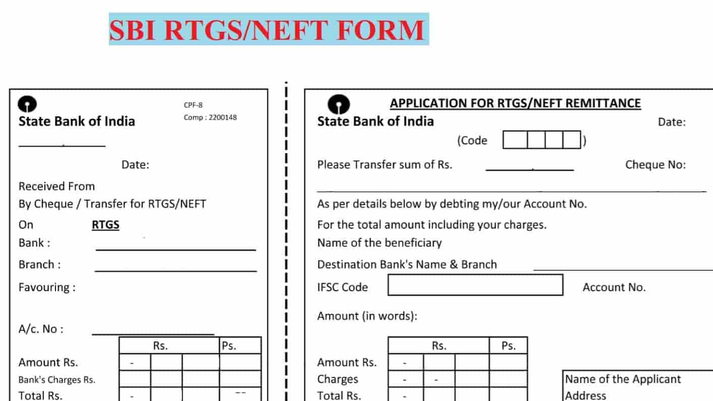 [PDF] SBI RTGS Form PDF Download | SBI NEFT Form |