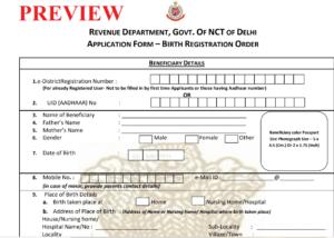 Delhi Birth Certificate Form PDF