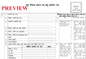 Rajasthan Domicile Certificate Form PDF Download