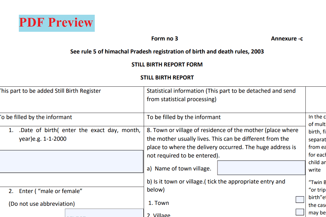 [PDF] हिमाचल प्रदेश जन्म प्रमाण पत्र फॉर्म | HP Birth Certificate Form PDF