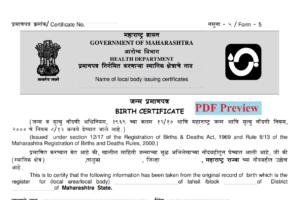 Maharashtra Birth Certificate Application Form PDF Download